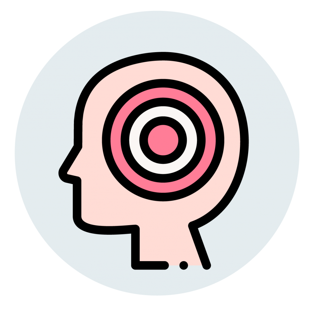 head and pink circle icon