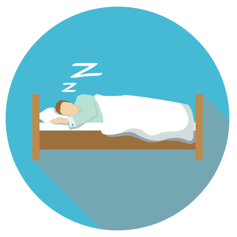 person sleeping on bed icon