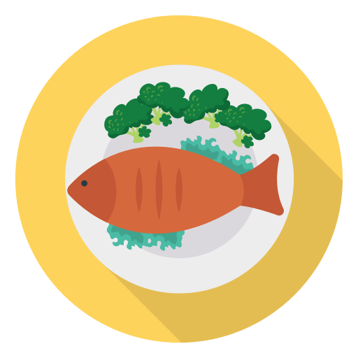 plate with fish and veggie icon